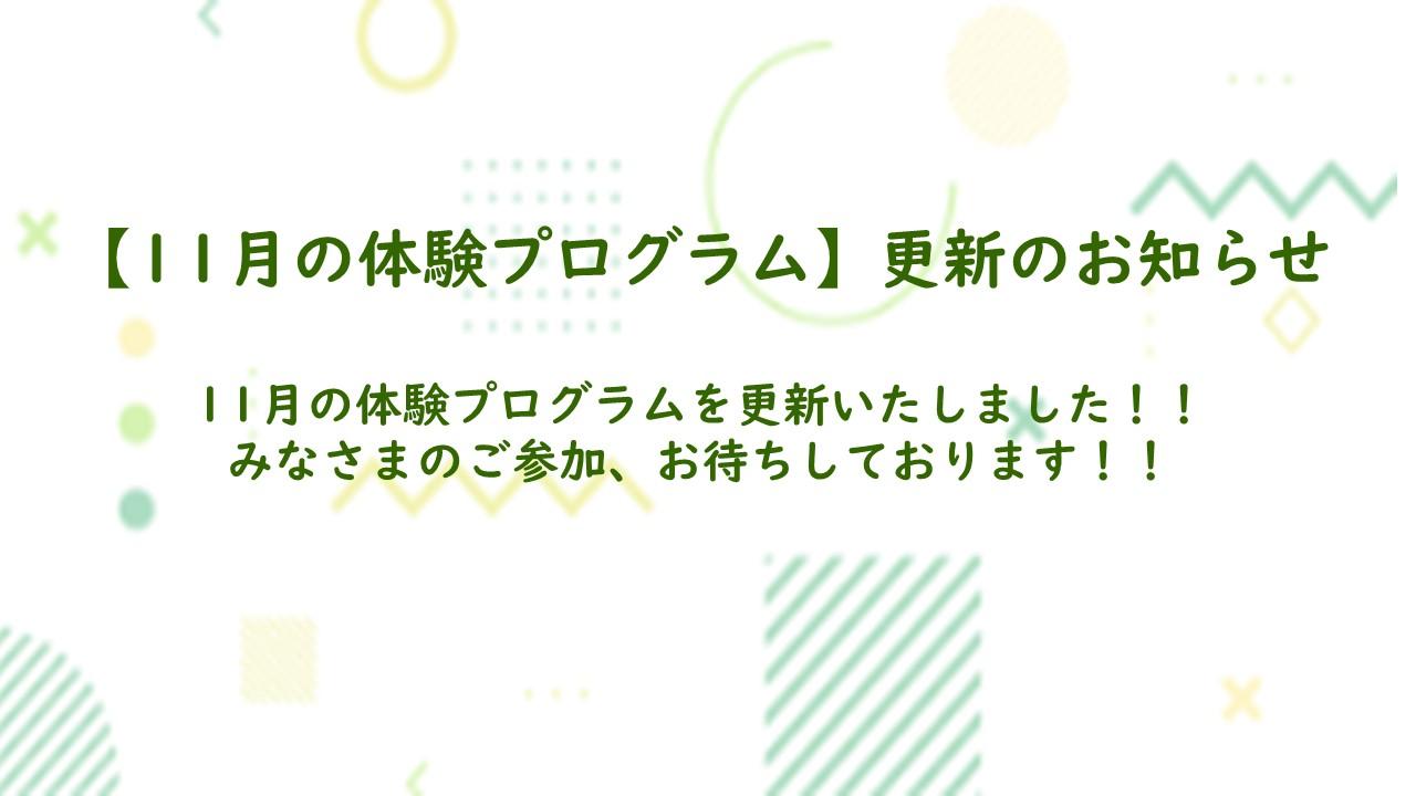 【11月の体験プログラム】更新のお知らせ